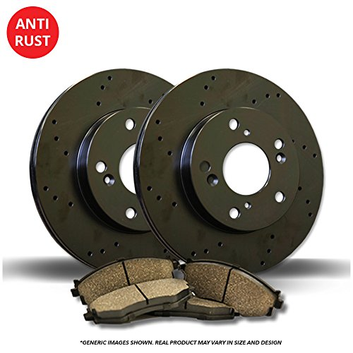 5lug 4 Black Coated Cross-Drilled Disc Brake Rotors Fits:- TSX Accord Heavy Tough-Series 8 Ceramic Pads Front+Rear Kit