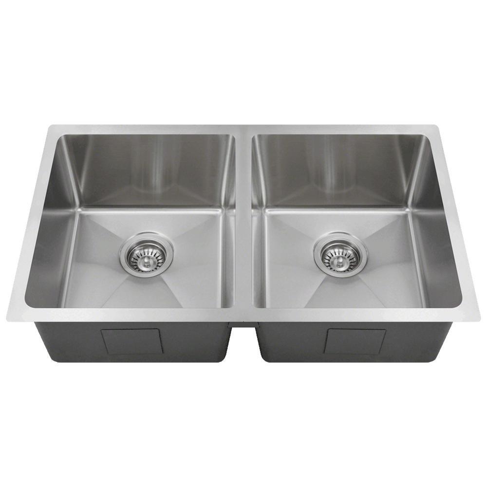 3120D 18-Gauge Undermount Double Bowl 3/4-Inch Radius Kitchen Sink ...