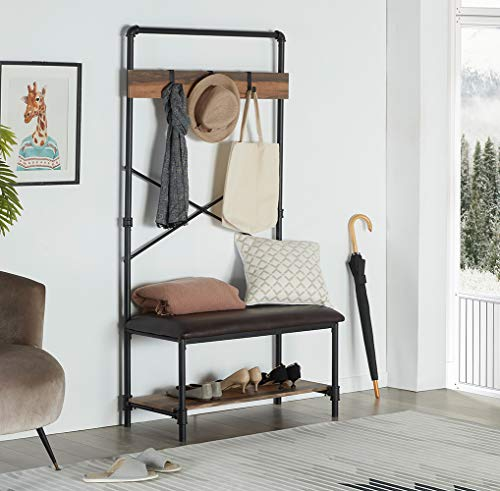 Homissue Industrial Pipe Hall Tree with Storage Bench, 2 Shelf Shoe Rack with 3 Hooks for Entryway and Hallway, Shoe Bench with Cushion, Retro Brown - Industrial Pipe Design: constructed with metal pipe frame and MDF board, add this sturdy hall tree to the entryway or hallway to complement a farmhouse aesthetic. It features padded upholstery for the seat that provides you with more comfort, a row of three hooks give you space to hang up coats, hats or other out-the-door essentials. The open shelf at the bottom that has ample space to hold several pairs of shoes, other footwear or any necessary things. A elegant addition to your entry, mudroom, office or apartment. - hall-trees, entryway-furniture-decor, entryway-laundry-room - 51C4Dp0sy7L -