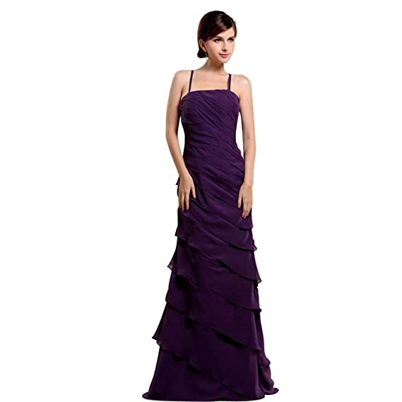 Dearta Womens Sheath Spaghetti Straps Floor-Length Prom Dresses US 2 Purple