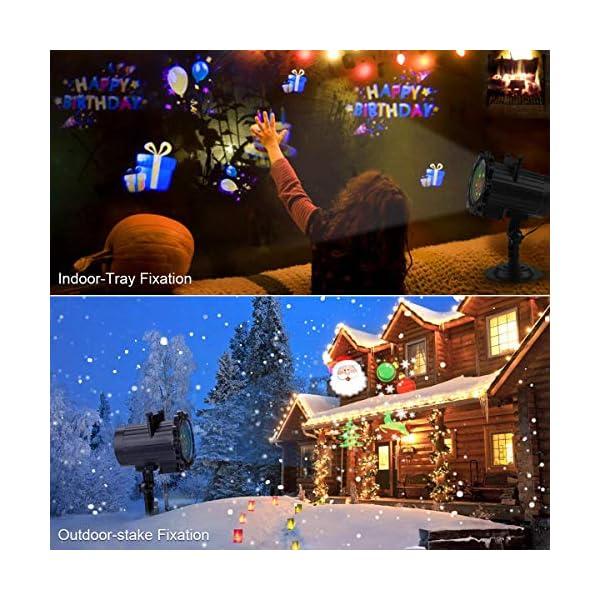 Proiettore Luci Natale, Proiettore Natale Esterno Interno Proiettore Fiocchi di Neve Impermeabili lampada proiettori LED 16 Diapositive con Telecomando RF per luci natalizie, Compleanno, Capodanno 3 spesavip