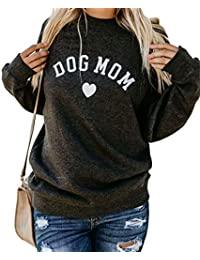SUPEYA Womens Dog Mom Print Solid Color Tops Casual Long Sleeve Pullover Sweatshirt