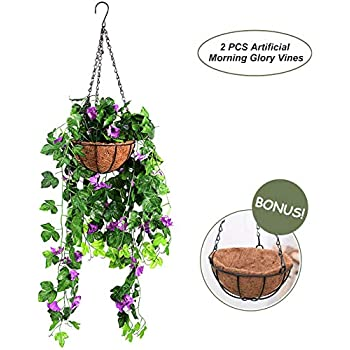 OSLAMP Artificial Morning Glory Plants Hanging Basket Fake Decorative Silk Flowers Vines for Home Garden Fence Wedding Indoor Outdoor Purple