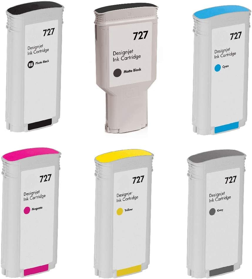 WORLDS OF CARTRIDGES Remanufactured Ink Cartridge Replacement for HP 727 (6-Pack: Photo Black+ Matte Black + Cyan + Magenta + Yellow + Gray) for Use in DesignJet T1500 / T2500 / T2530 / T920 / T930