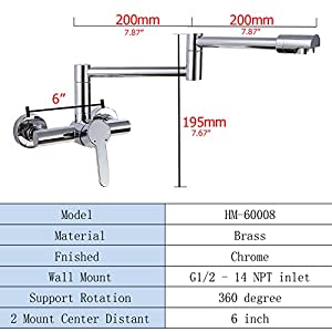 Pot Filler Faucet, Pot Filler Folding Stretchable Double Joint Swing Arm Brass Chrome Wall Mount Kitchen Sink Faucet