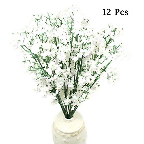 King Boutiques Artificial Flowers 12pcs Babies Breath Artificial Flowers Fake Gypsophila DIY Floral Bouquets Arrangement Wedding Home Garden Party Decor (Color : White) from King Boutiques