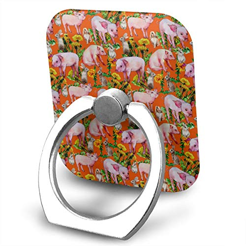 Rose Pedestal Wild Metal (Pig Wild Animal Pattern Phone Finger Ring 360 Degree Rotation Foldable Set Compatible with Most of Smartphones Tablet and Case Sold)