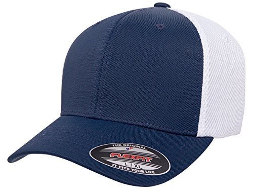 Flexfit 6533 Ultrafibre & Airmesh Fitted Cap, Navy With White - ()