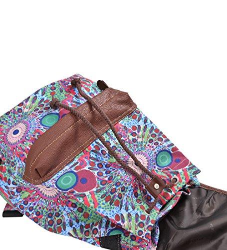 Gezu Vintage Rucksack Damen Rucksäcke Retro Druck Schulrucksack für Uni GZ00163 Blau Grün