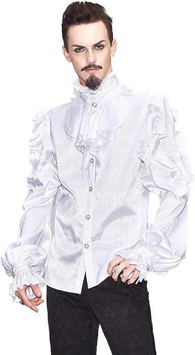 Devil Fashion - Camisas estilo gótico, estilo victoriano, estilo vintage, con volantes, estilo barroco, mandarín, para caballero, elegante Tops para hombre: Amazon.es: Ropa y accesorios