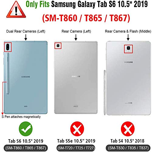 Galaxy Tab S6 Case with Pen Holder, Built-in Screen Protector, Herize SM-T860/T865 Case, Heavy Duty Shockproof Durable Case with Rotating Stand/Hand Strap for Samsung Galaxy Tab S6 10.5 2019 Black
