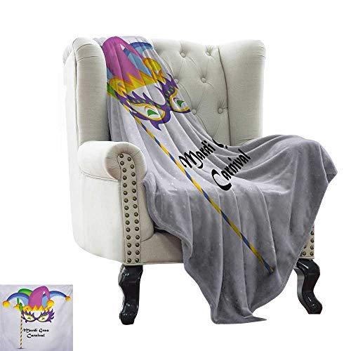 LsWOW Cotton Blanket Mardi Gras,Mardi Gras Carnival Inscription