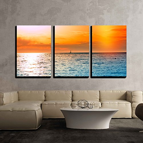 Three Panel Sunset Beach Scene Canvas Wall Art