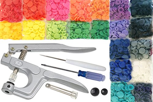 KAMsnaps 20-Color Starter Pack: 200 KAM Snaps, Awl and Snap Press Hand Pliers for Plastic Snaps No-Sew Button Fastener Setter Installation Attachment Tool