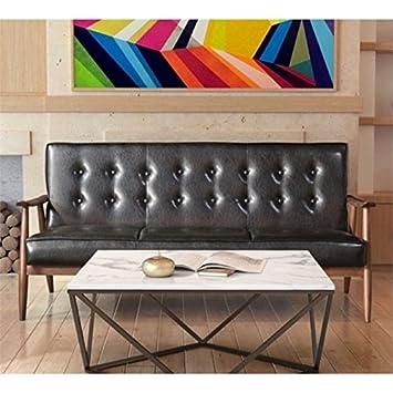 Amazon.com: Brika Home Faux Leather Sofa in Black: Kitchen ...