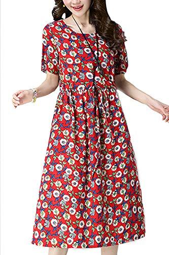 e8a85a42f94 Bleu Coton Robe large Fleurie Rouge Xx Femme D été Manches coloré  Décontracté Tunique Taille Courtes ...