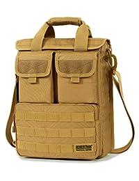 "Seibertron Expandable 14"" laptop waterproof Messenger Bag Multiple Pockets & Compartments - Carry as Messenger Bags (Khaki)"