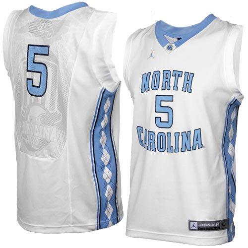 Nike Air Jordan Youth UNC Tarheel Jersey#5, Large, White/Blue
