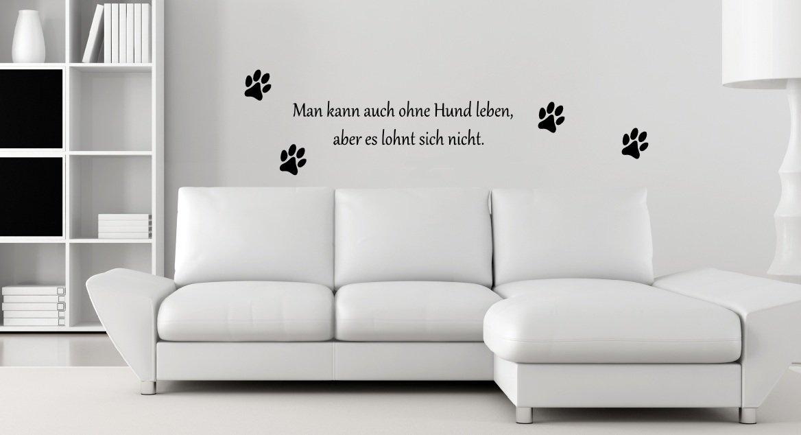 Ohne Hund Leben... Pfoten   Pfote Spruch   Wandtattoo Aufkleber 70x13cm  B288 V (schwarz): Amazon.de: Küche U0026 Haushalt