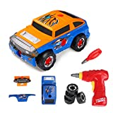 Virhuck 2 In 1 Take Apart Toy Racing Car Kits for kids - Build Your Own Toy Truck Playset with 36 Parts, Two Color Shell, Realistic Engine Sounds & Drill, Orange and Blue