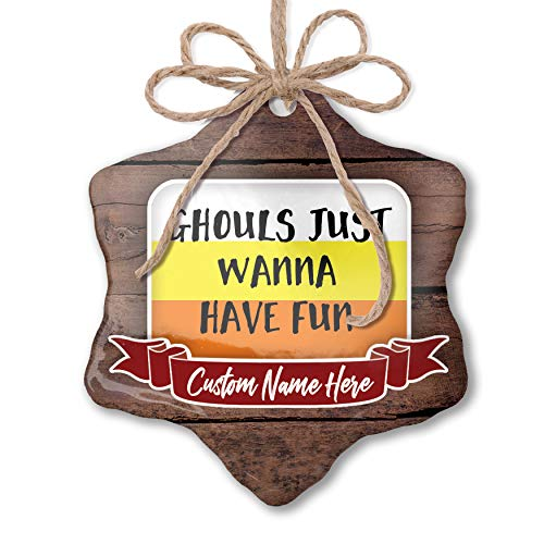 NEONBLOND Custom Family Ornament Ghouls Just Wanna Have Fun Halloween Candy Corn Personalized Name