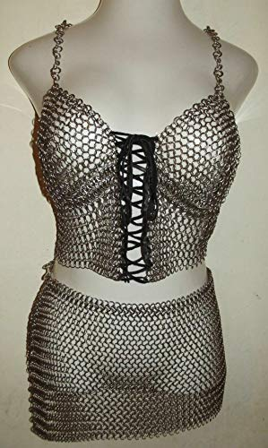 - uniquewonderitems Chainmail Bra Skirt Medieval Antique Style