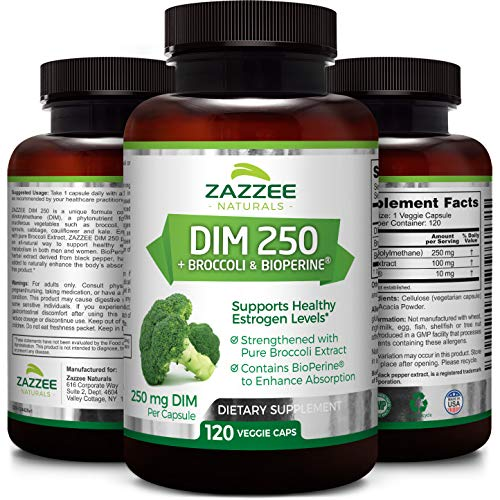 DIM 250 mg   120 Veggie Caps   10 mg BioPerine   4 Month Supply   Plus Pure Broccoli Extract   Vegan and Non-GMO   250 mg per Capsule   Extra Strength   Supports Healthy Estrogen Levels and Metabolism