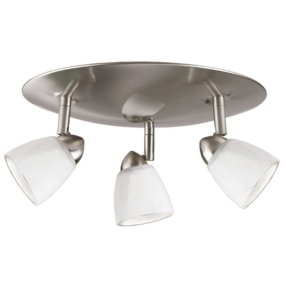 Cal Lighting SL-954-3R-BSWSW Spot Light with White Glass Shades, Brushed Steel Finish