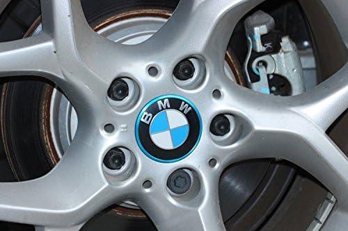 Biznon Juego de 4 pegatinas de aluminio azules para llantas de 68 mm B M W de aleación, tapacubos centrales serie 1, 3, 4, 5, 6, 7, M3, M5, M6, X2, X4, X6, ...