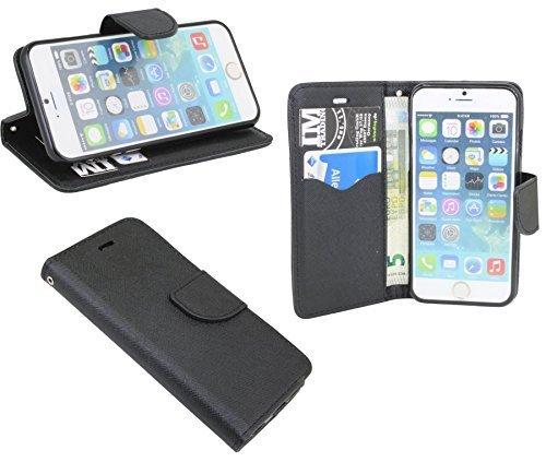 Elegante Buch-Tasche für das Iphone 6/ 6S in Schwarz Leder Optik Wallet Book-Style @ Energmix