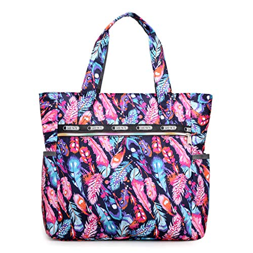 Women's Nylon Floral Top Handle Tote Handbags Bag Multi Pocket Shoulder Bag Shopper Duffel Bags