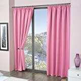 Luxury Thermal Supersoft Blackout Curtains Pink 45 x 54 (114cm x 137cm) by Tony's Textiles