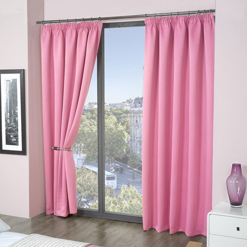 Tonys Textiles Luxury Thermal Supersoft Blackout Curtains Pink 46 Wide X
