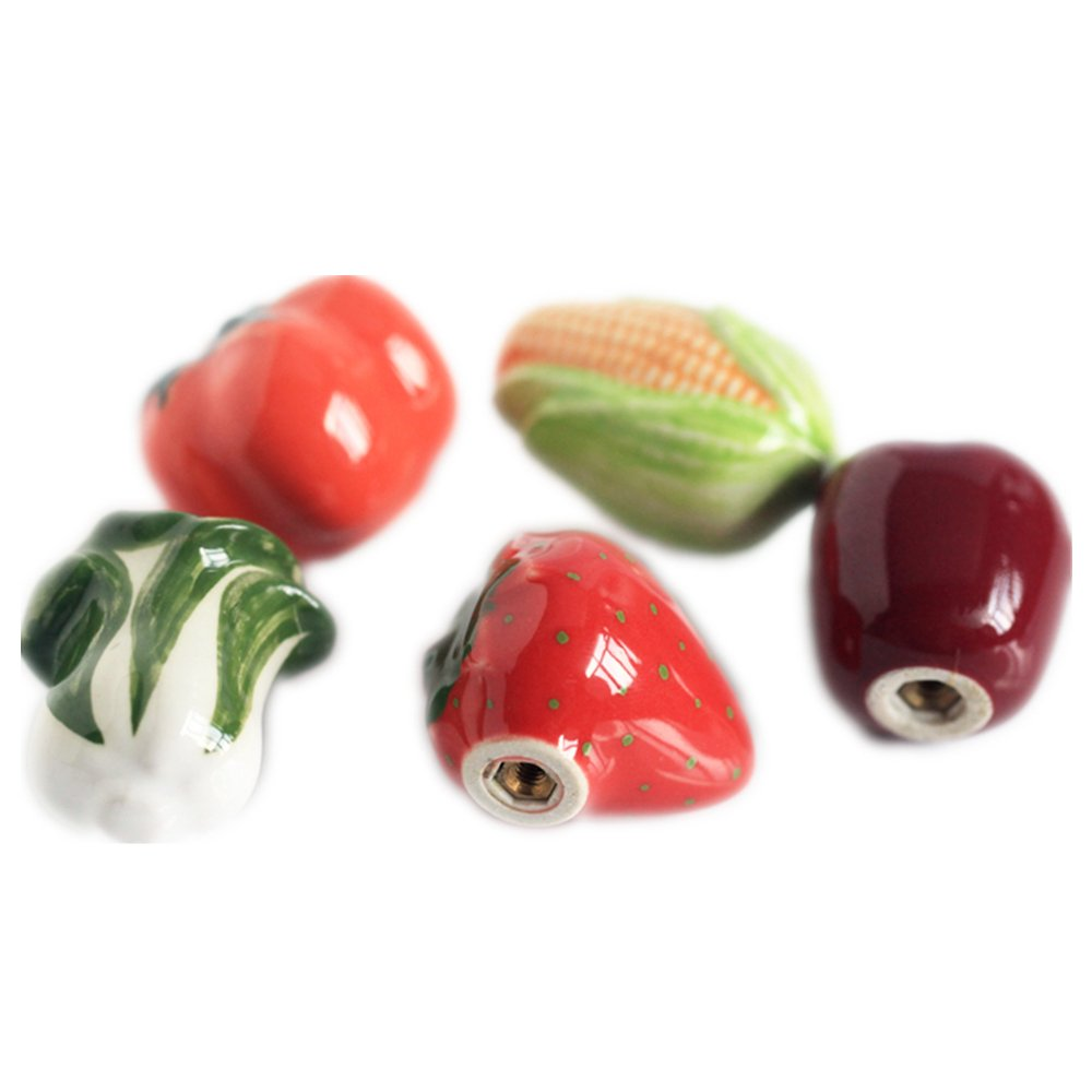 Liaozy888 5pcs/set Ceramics Cabbages tomatoes corn apples strawberries Fruits and Vegetables Shape cabinet knobs and handles For Children's Furniture Drawer Handles