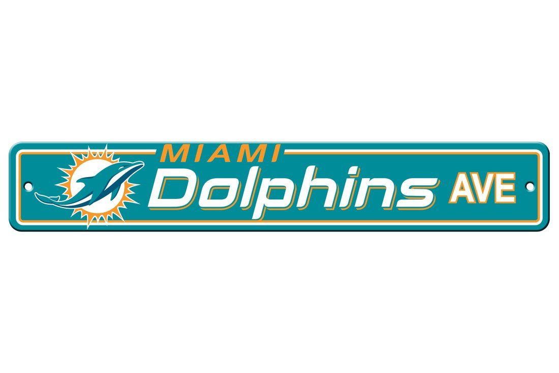 NFL Miami Dolphins Plastic Street Sign, Teal