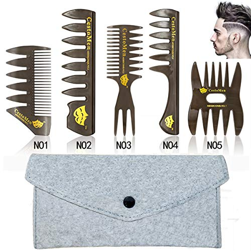 5 PCS Hair Comb Styling Set Barber Hairstylist Accessories,Professional Shaping & Wet Pick Barber Brush Tools, Anti…