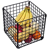OROPY Metal Mesh Wire Storage Basket Organizer Black Basket Bin with Clips for Home, Office, Pantry, Bedroom, Closets