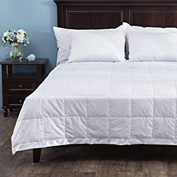 Puredown Light Weight White Down Blanket With Satin Weave, White, King Size