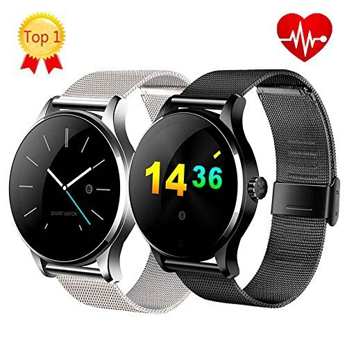 Harlov K88H Bluetooth Smart Wrist Watch with Stainless Steel Band; Digital Sport Watch, Compatible with IOS, Android Phone; Professional Statistical, Pedometer and Heart Rate Monitor (Black)