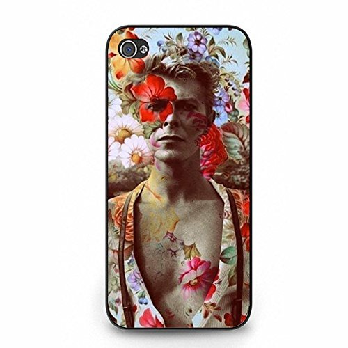 Iphone 5 5s Cover Shell Hipster Colorful Flowers Art Style GlamRock style Musician David Bowie Phone Case Cover Great Singer Perfect