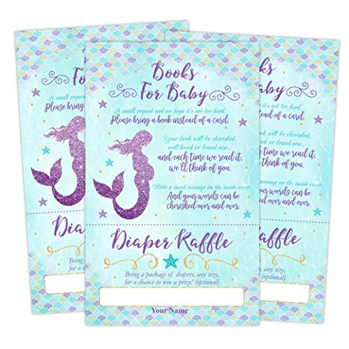 Mermaid Baby Shower Book Request Diaper Raffle Ticket Card, Mermaid Book Request Card, 50 Count -
