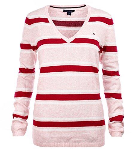 Tommy Hilfiger Damen V-Neck Pullover Pulli rosa gestreift Größe XL pVPHA