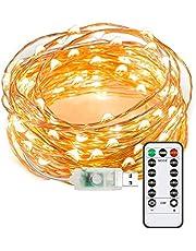 Aneagle Ljusslingor, 8 lägen USB-kontakt i ljusslingor, utomhus jul trädgårdsbelysning, koppartråd älva lampor med fjärrtimer för sovrum, bröllop, jul (20 m 200 LED)