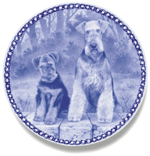 Airedale Terrier and Puppy: Danish Blue Porcelain Plate #3037