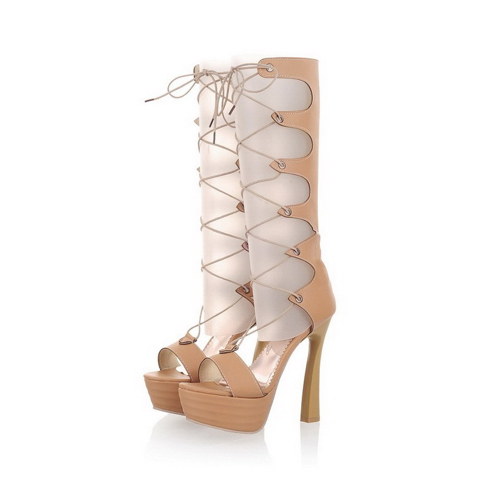 VogueZone009 Womens Open Toe High-Heels Soft Material Solid Lace-up Sandals