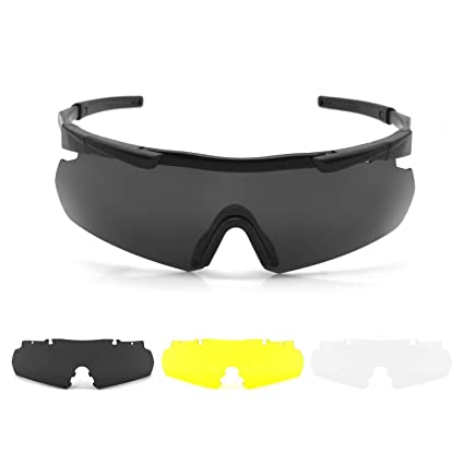 0b682d619d ActionEliters Tactical Eyewear Eyeshield Polarized UV400 Protective  Shooting Safety Glasses Kit w  3 Lenses for
