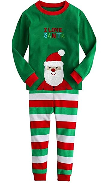 7db0b286a Amazon.com  Baby Boys Girls Christmas Santa Pajamas Shirt   Pants ...