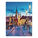 Polyester Rectangular Tablecloth,Urban,Colorful Sunset Evening View of Old Main Bridge in Historical Land Bavaria Germany,Multicolor,Dining Room Kitchen Picnic Table Cloth Cover,for Outdoor Indoor