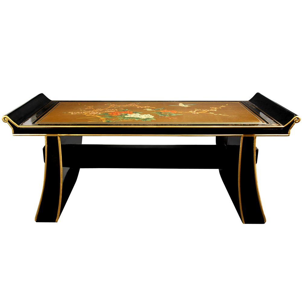 amazoncom oriental furniture shinto coffee table gold leaf birds and flowers kitchen dining amazoncom oriental furniture rosewood korean tea table