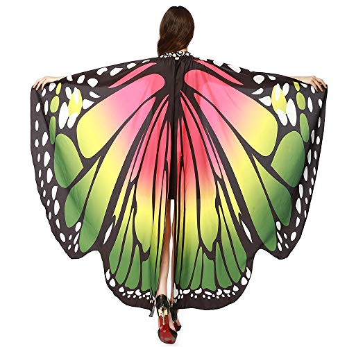 POQOQ Butterfly Wing Cape Shawl Adult Women Halloween Costume Accessory with Black Velvet Antenna 168135CM Green]()